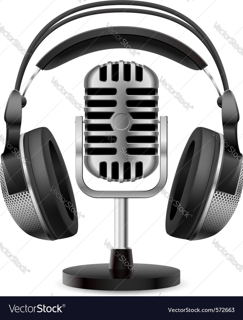 Retro microphone headphones vector image