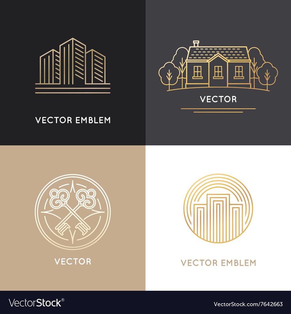 Real estate logo design templates vector image
