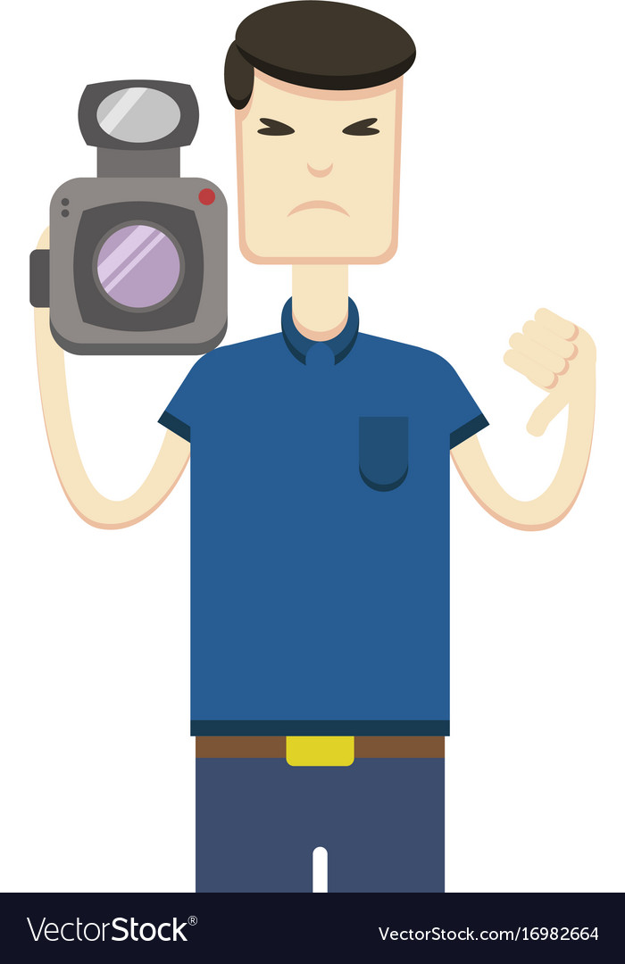 Drawing of an asian with a video camera vector image