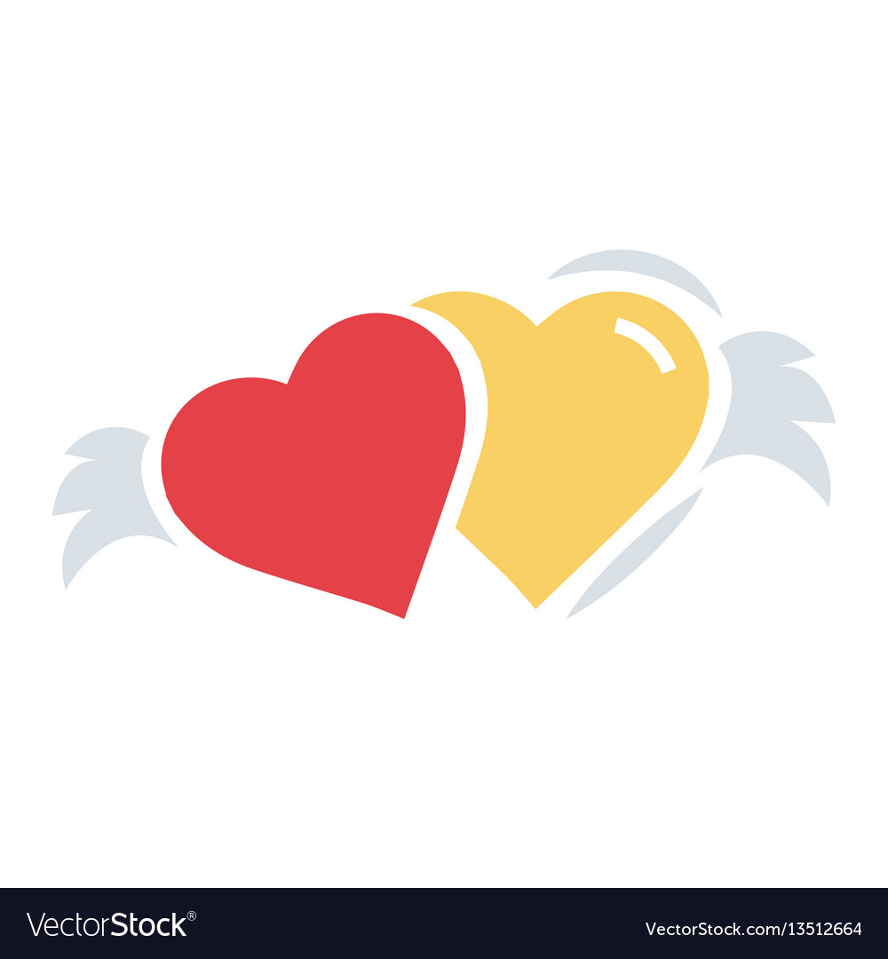 Two hearts with wings flat icon vector image