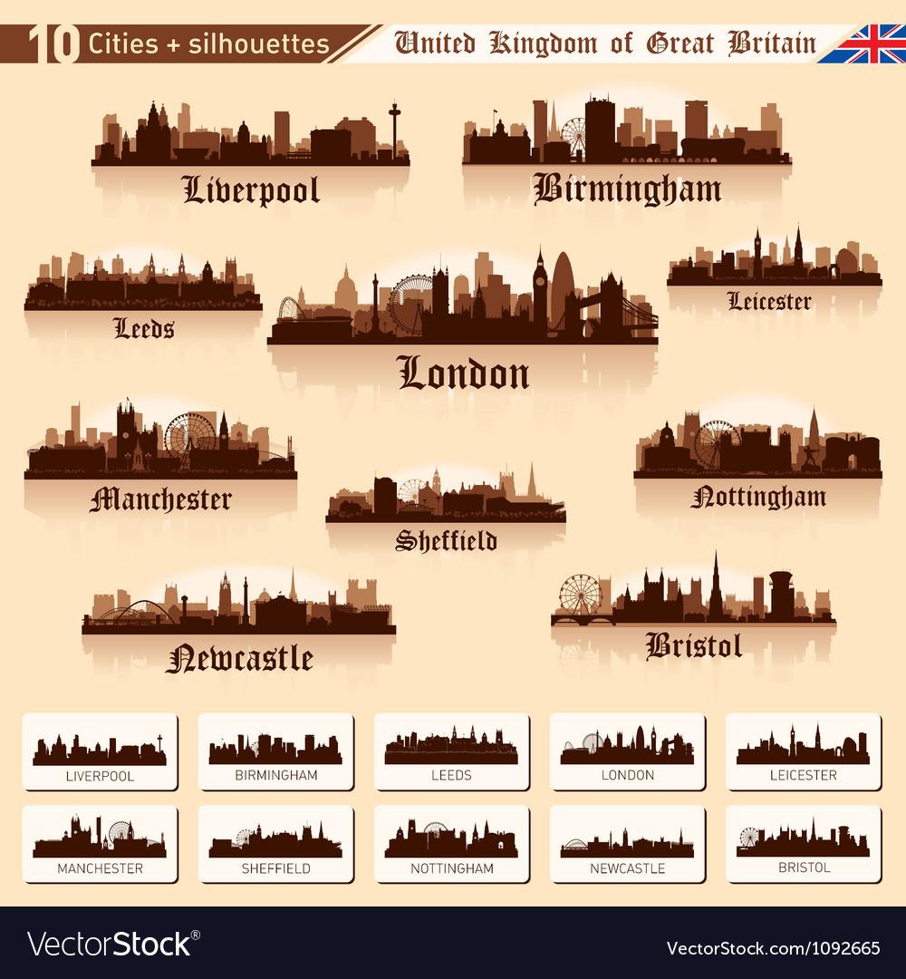 City skyline set 10 cities of Great Britain Vector Image