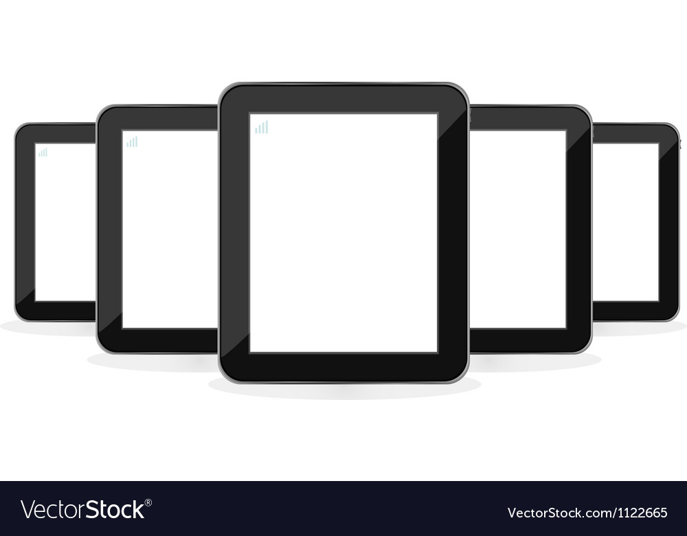 Digital tablet PC set isolated on white vector image