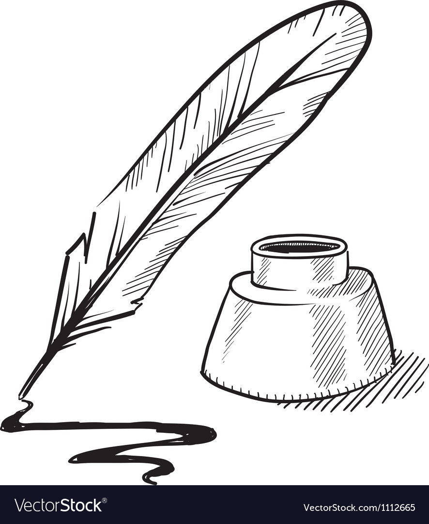 Doodle Pen Feather Ink Royalty Free Vector Image