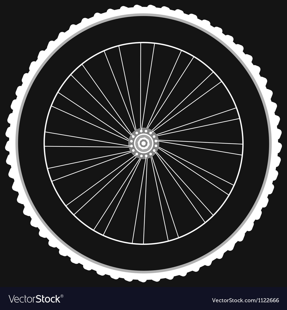 Bike wheel - isolated on black background vector image