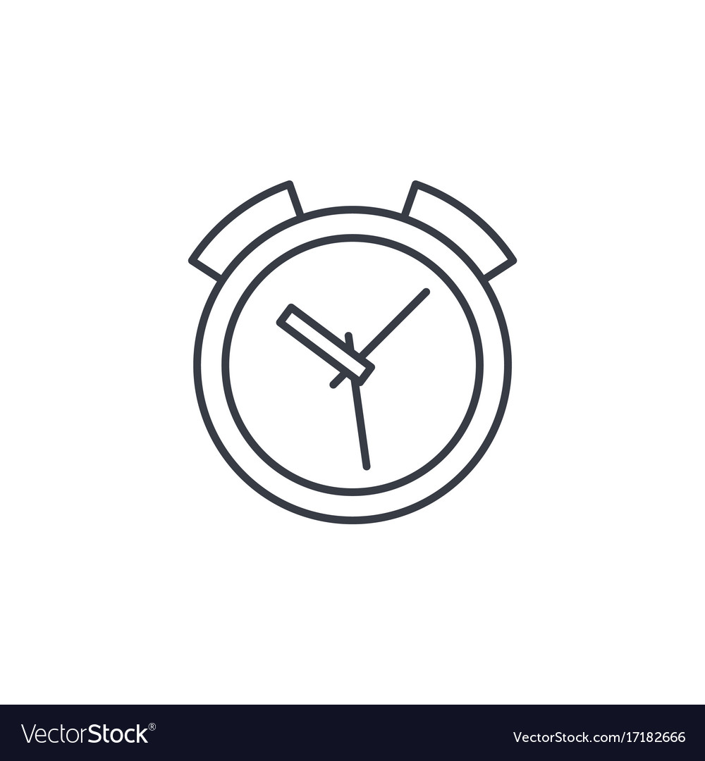Alarm clock thin line icon linear symbol vector image