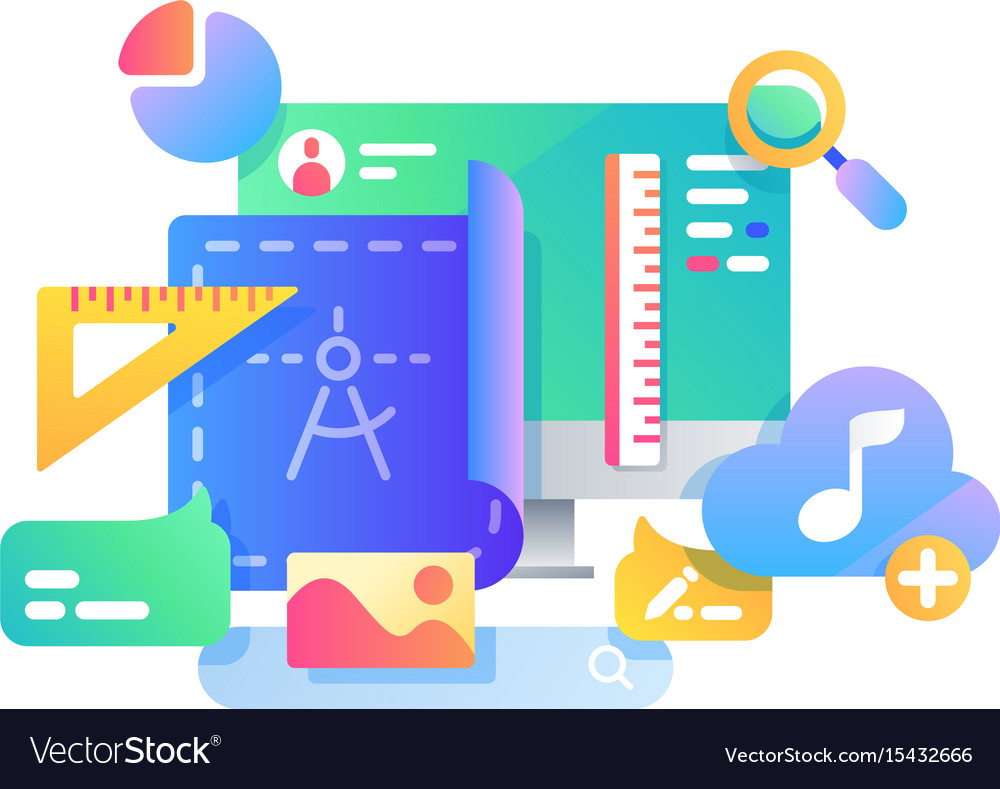 Process of creating web page design vector image