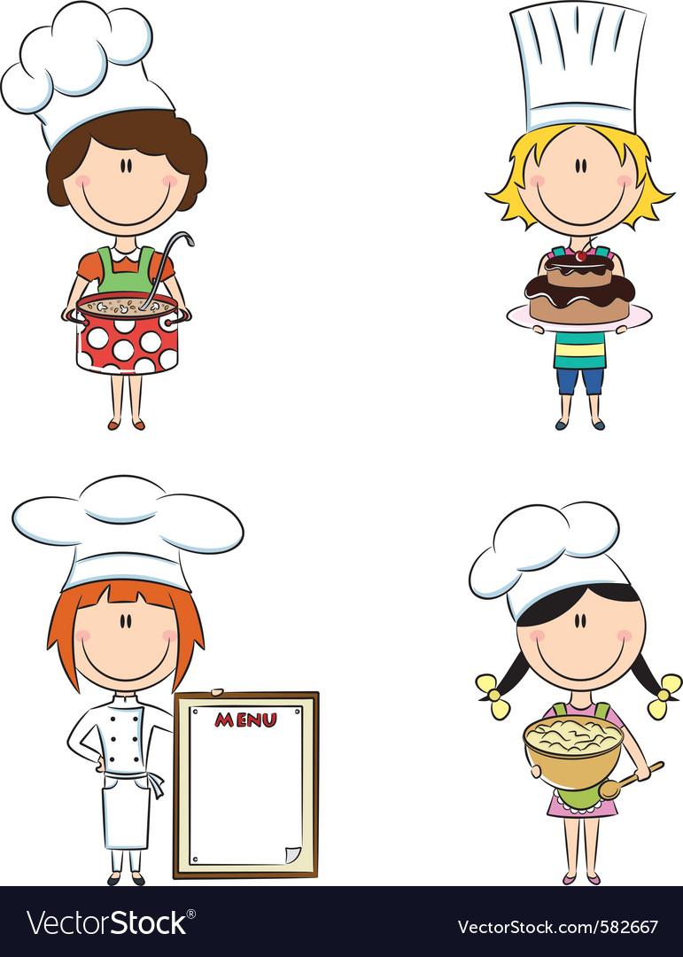 Cartoon female chefs vector image