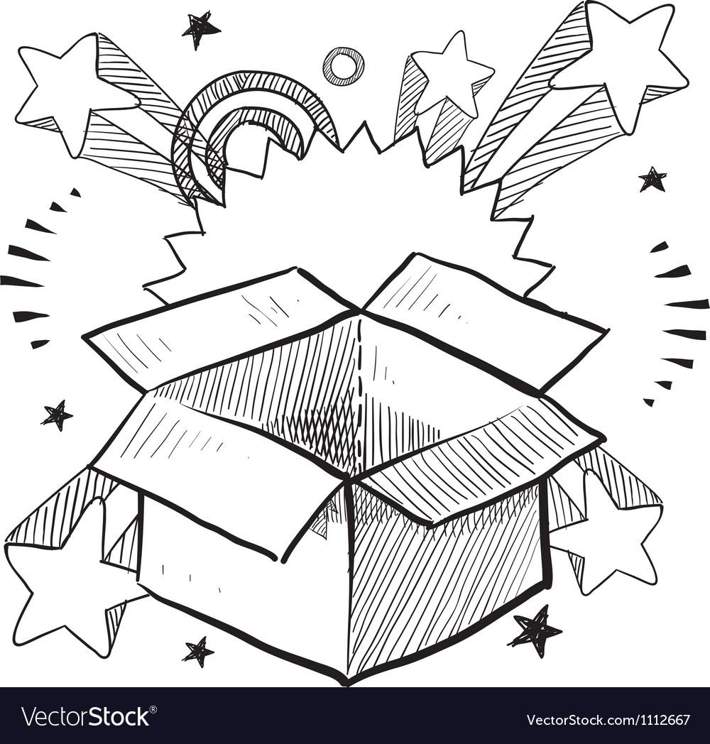 Doodle pop box surprise vector image