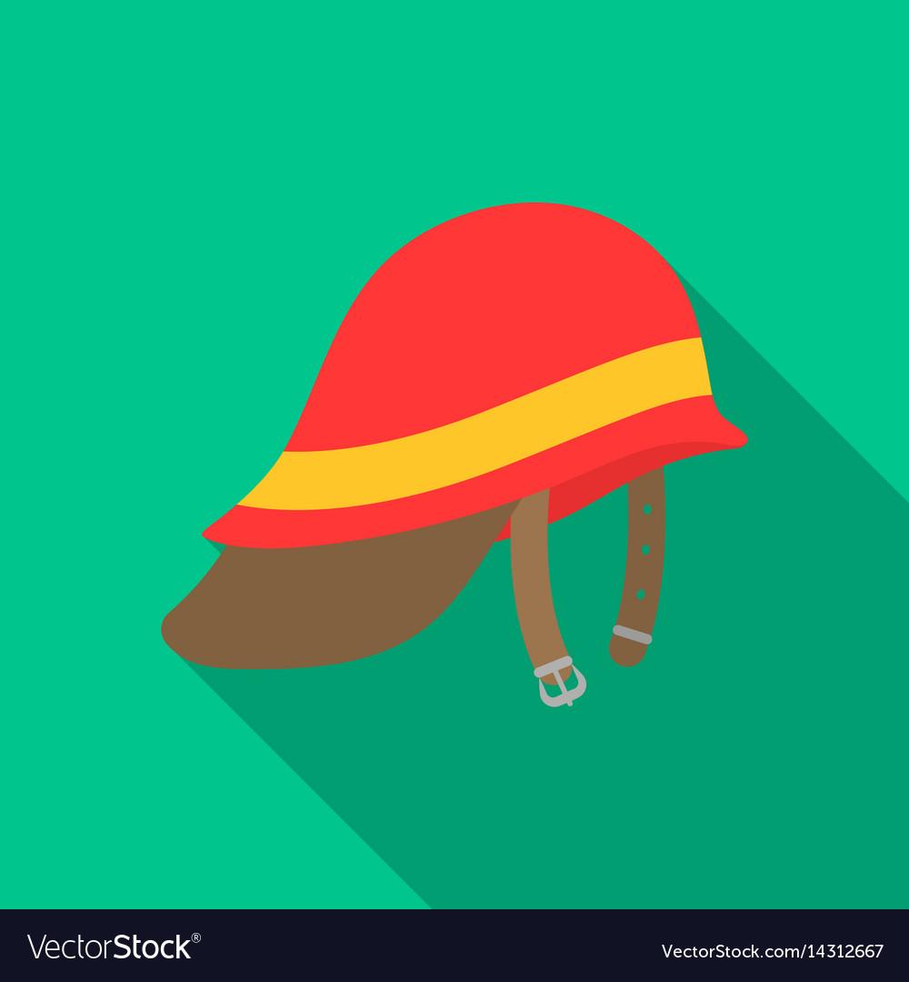 Firefighter helmet icon flat single silhouette vector image