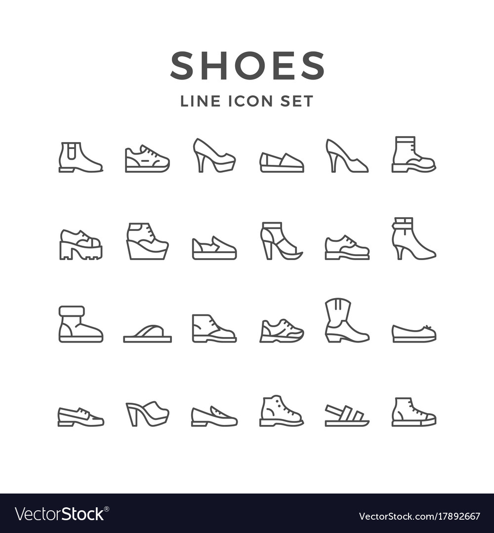 Set line icons of shoes vector image