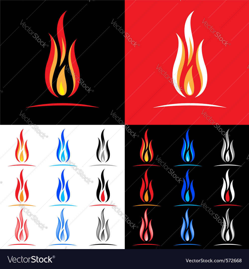 Fire icons collection vector image