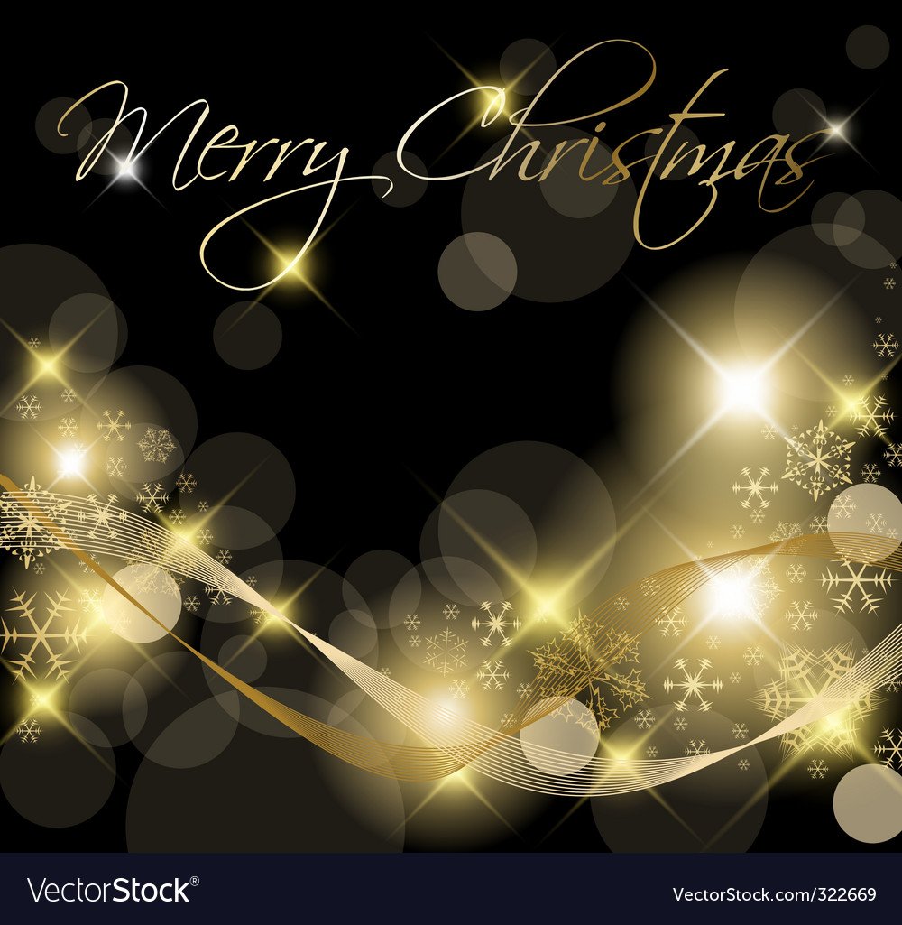 Black and golden Christmas background vector image