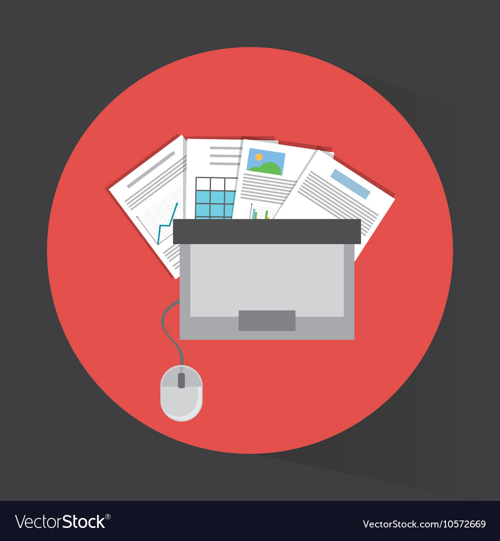 Laptop topview and office related items icon vector image