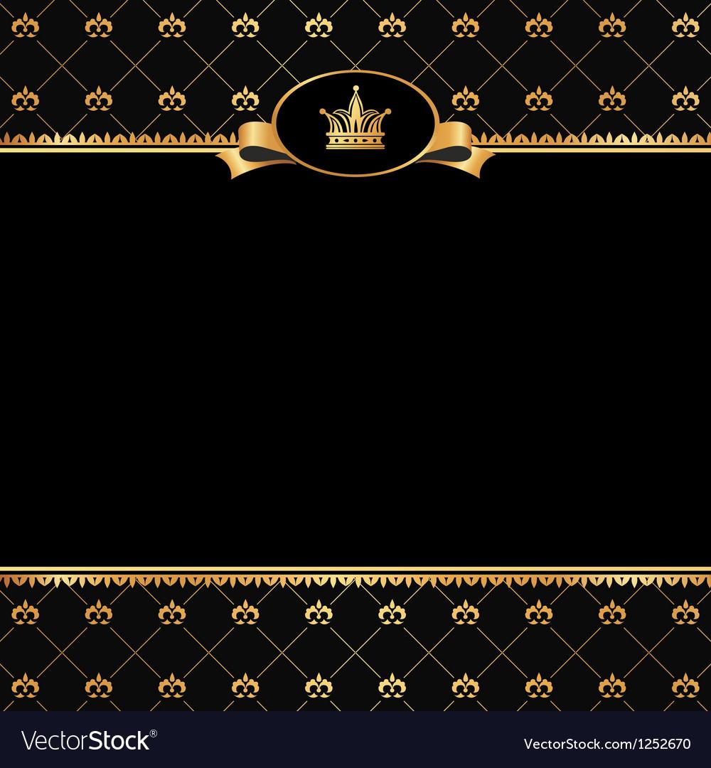 Vintage black background with golden frame Vector Image
