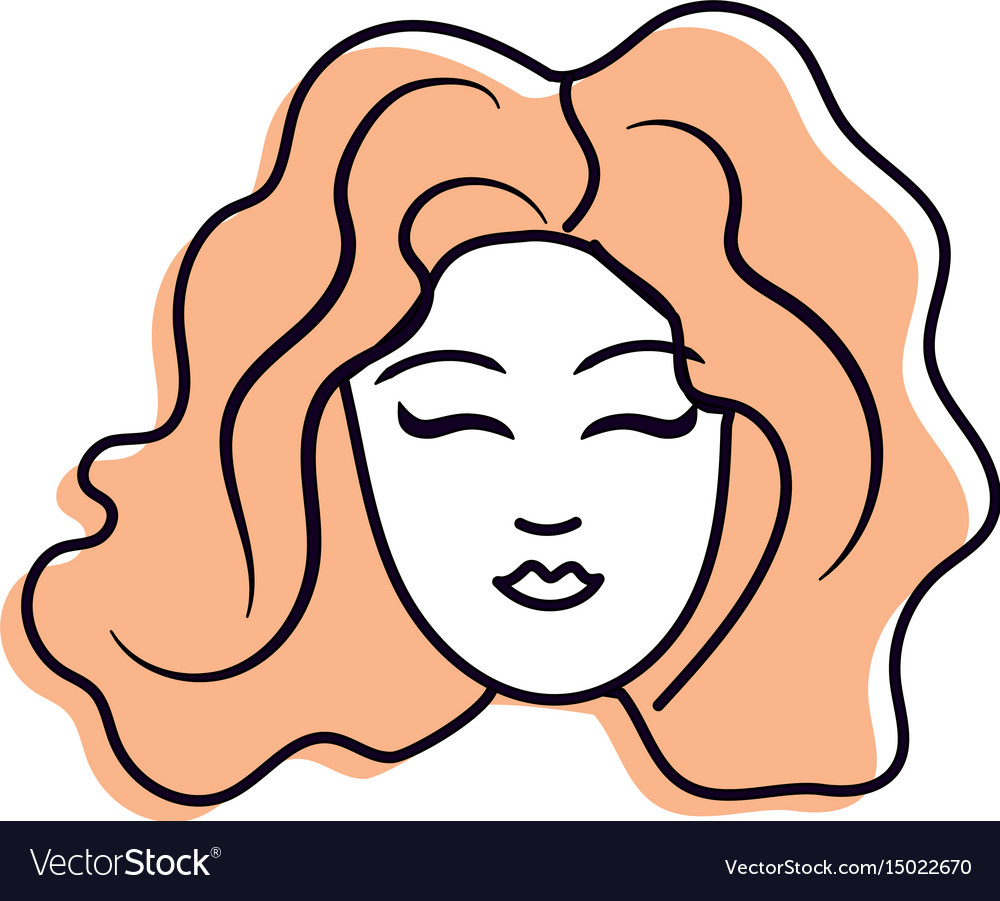 Cute woman face with hairstyle vector image