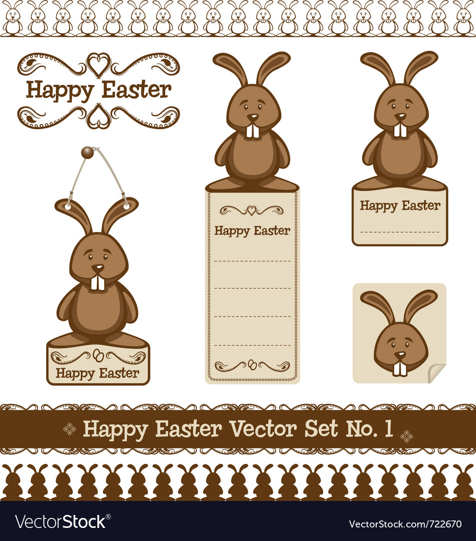 Happy easter set no 1 vector image