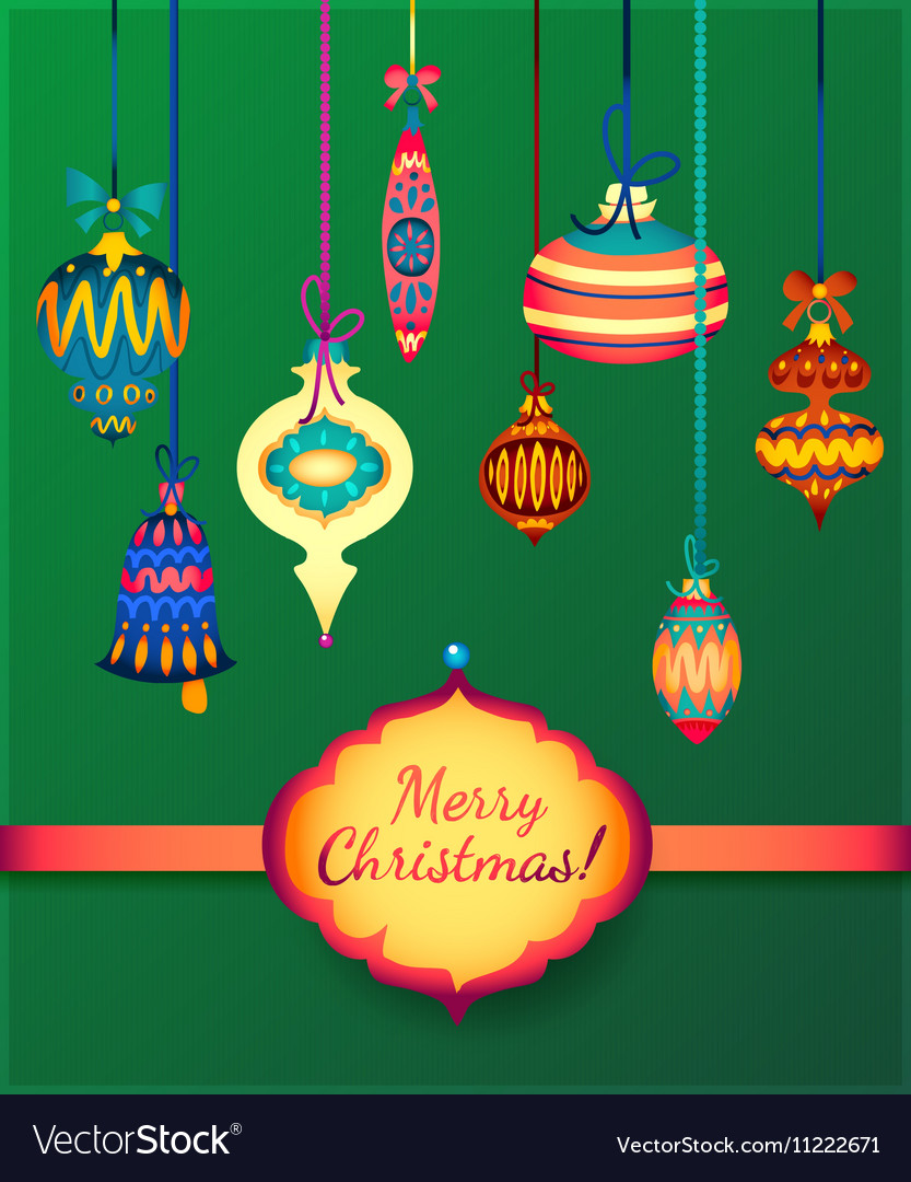Merry Christmas Glass Balls on Green Background vector image