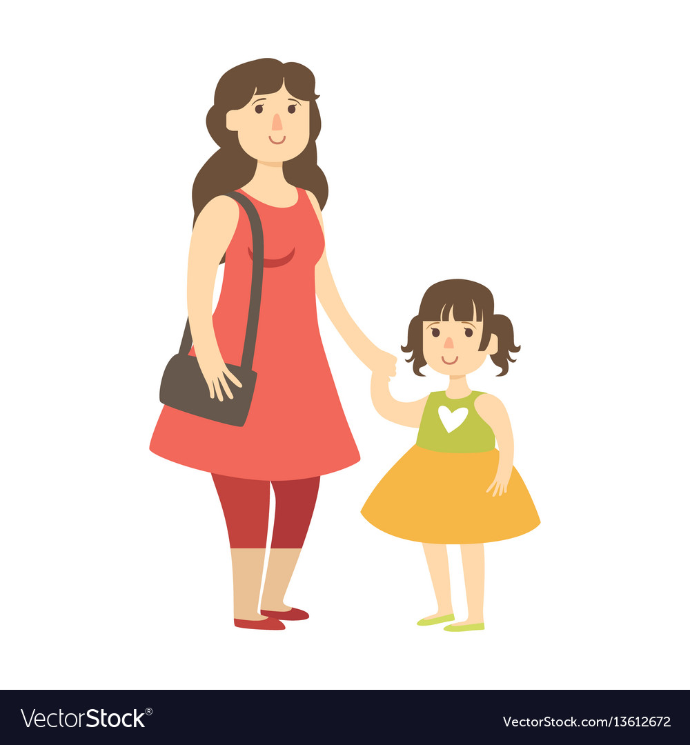 Mother and small daughter holding hands vector image