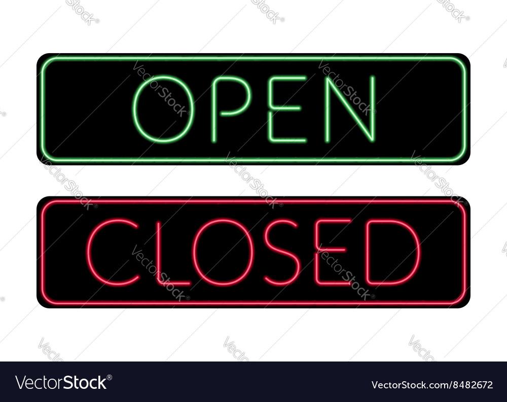 Open and Closed door neon Sign vector image  sc 1 st  VectorStock & Open and Closed door neon Sign Royalty Free Vector Image
