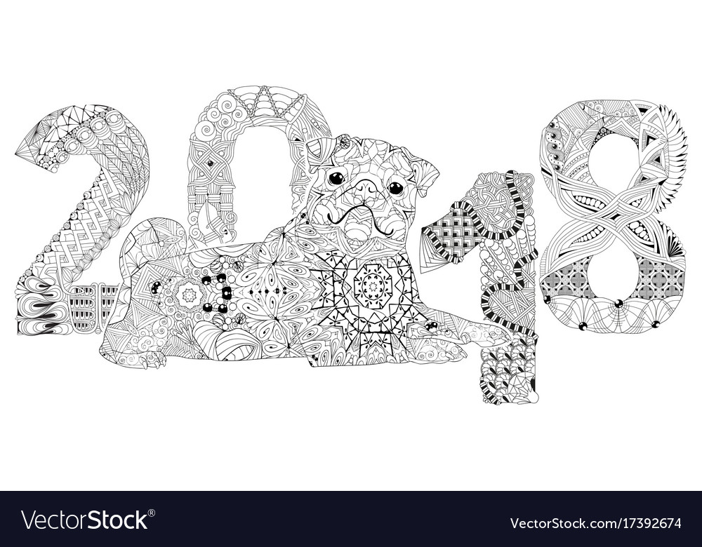 Number 2018 zentangle with dog decorative object vector image