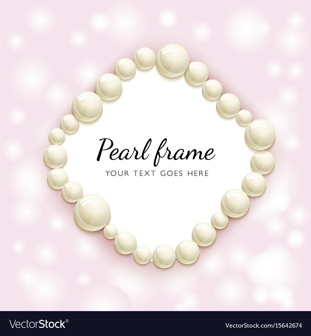 Pearl beads frame vector image