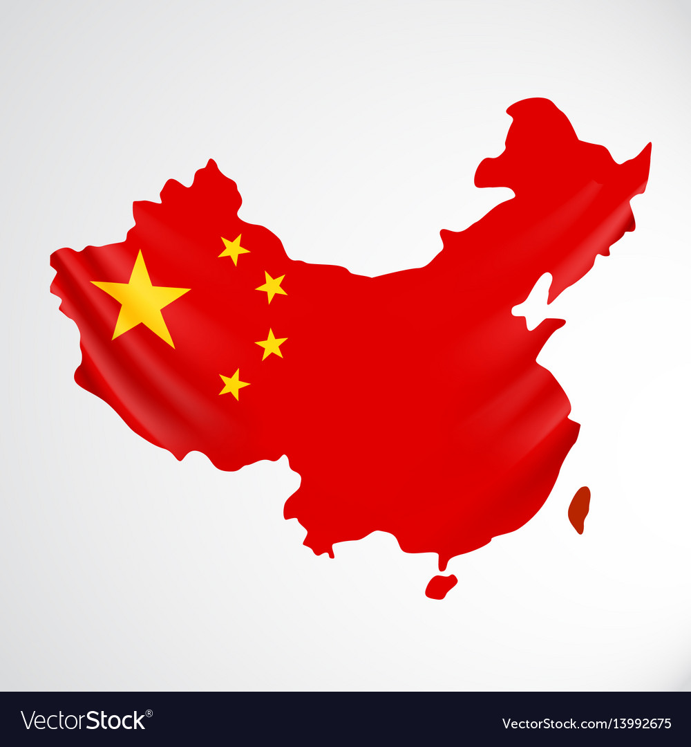 China flag in form of map people republic of vector image