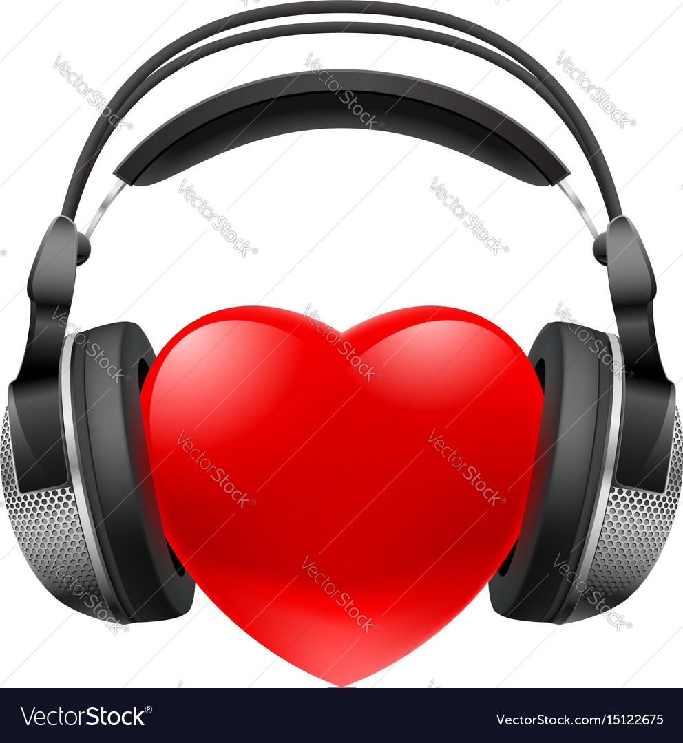 Red heart with headphones music concept on white vector image