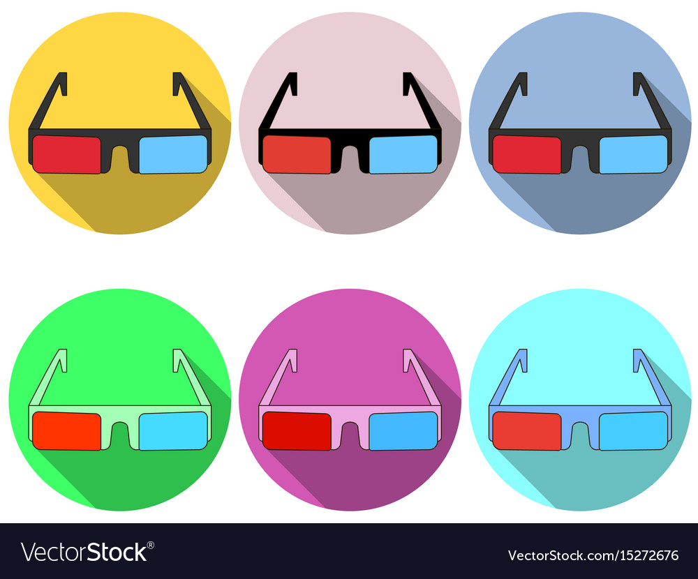 3d glasses are flat with a long shadow modern vector image
