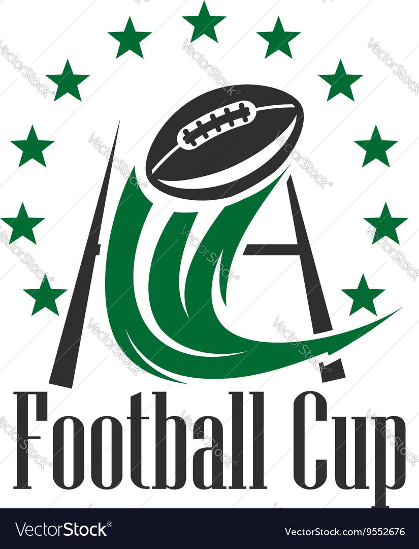 American football cup badge with ball and goalpost vector image