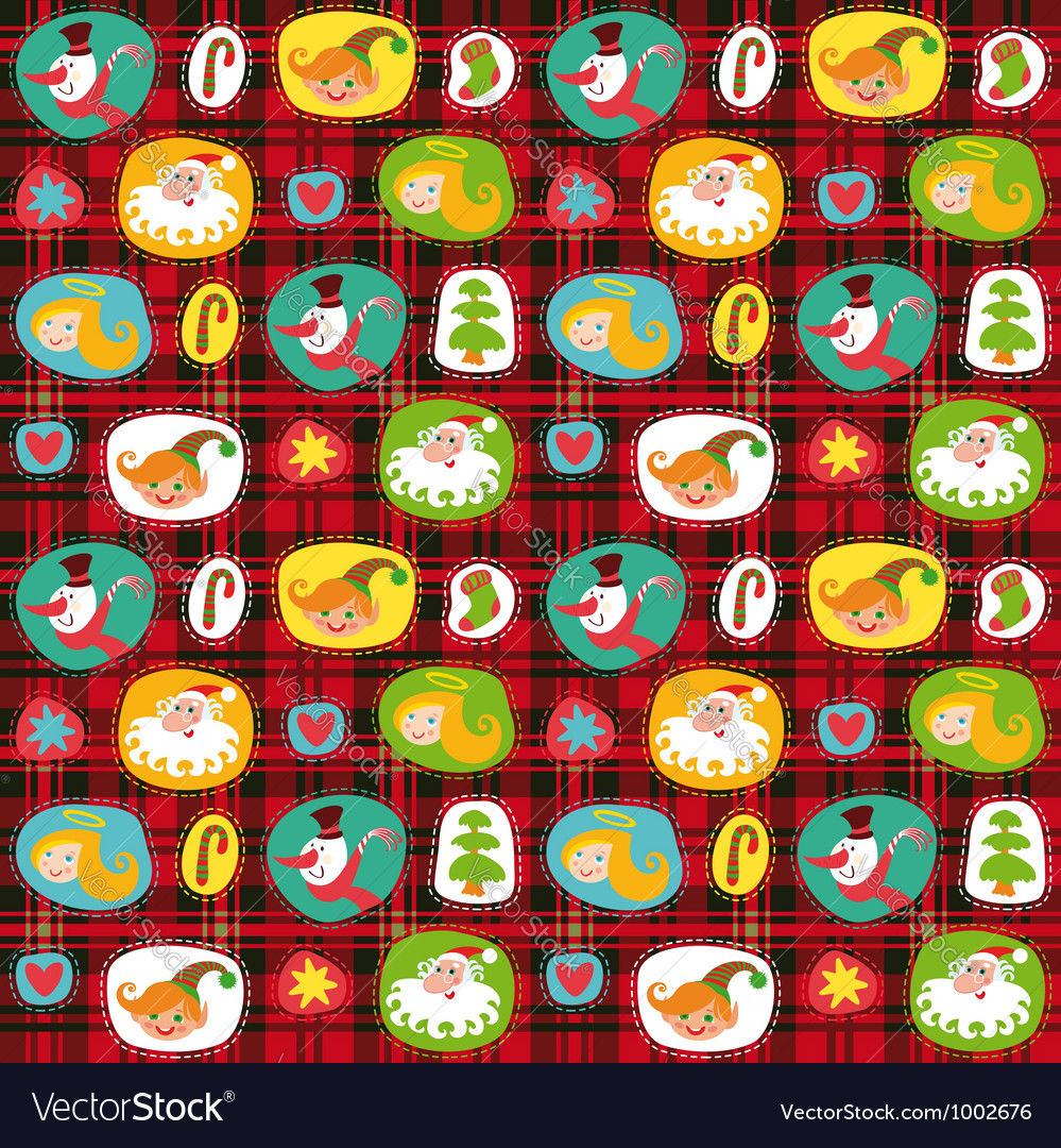 Christmas set wrapping paper plaid tartan pattern vector image