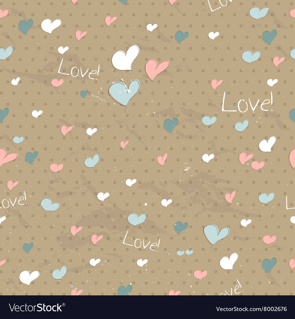 Vintage seamless texture with hearts vector image