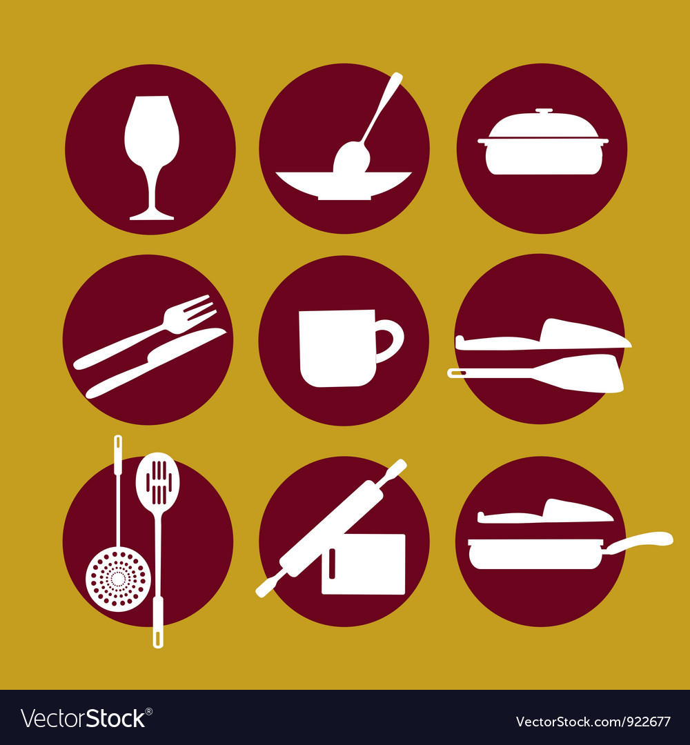 Kitchenware icon set on yellow vector image