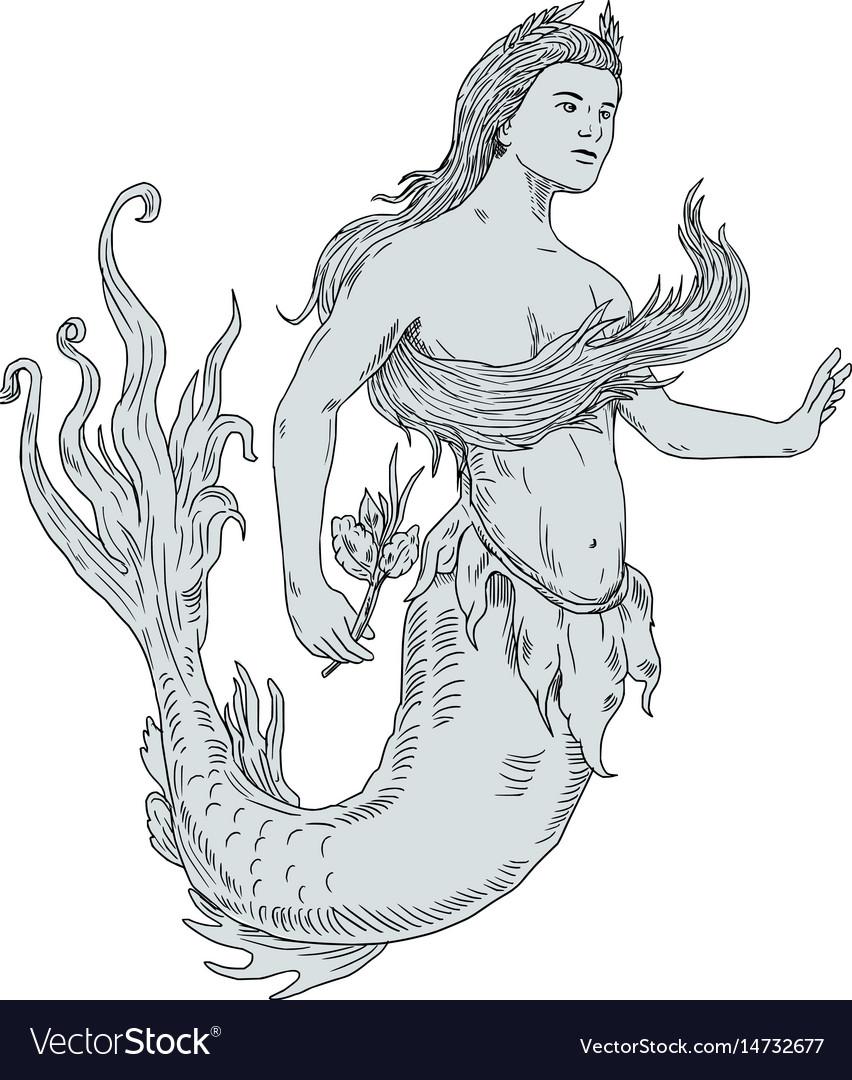 Vintage mermaid holding flower drawing vector image