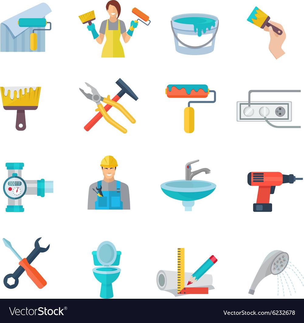 Home Repair Icons Flat Set vector image