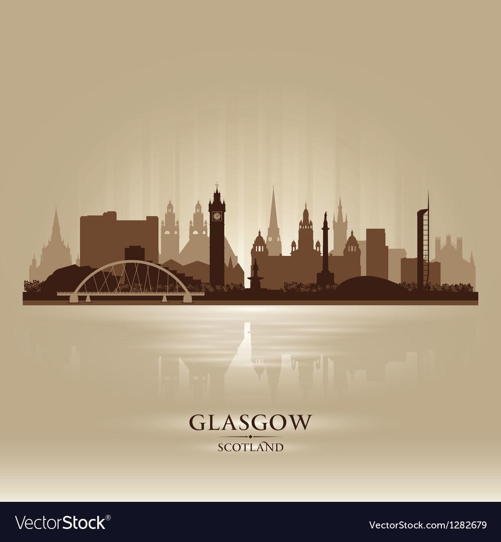 Glasgow Scotland skyline city silhouette vector image