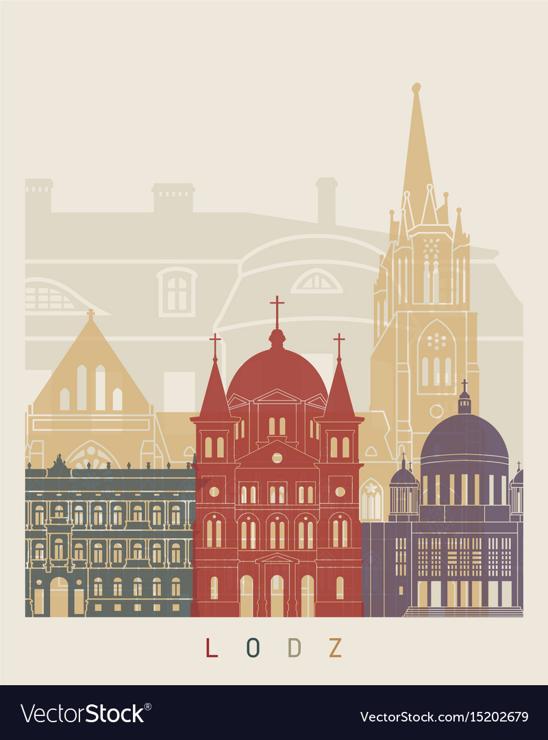 Lodz skyline poster vector image