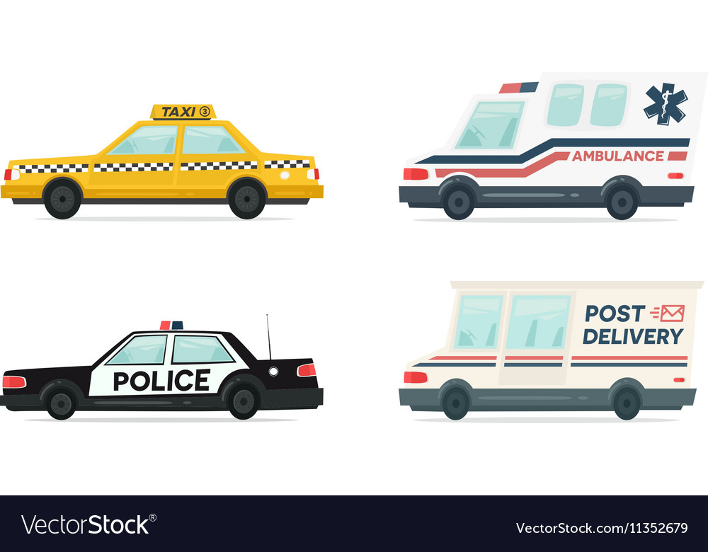 Set of cartoon ambulance police delivery and vector image