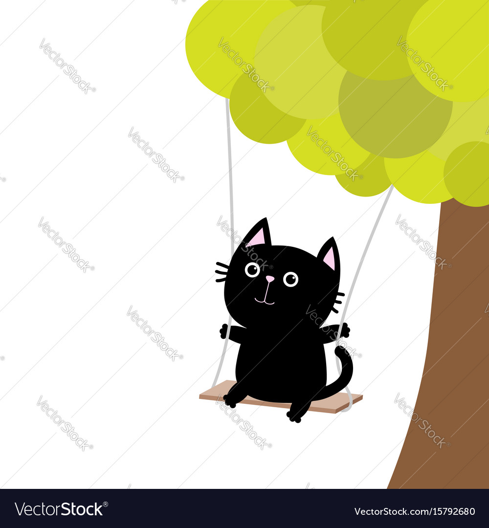 Cat ride on the swing green tree cute fat vector image