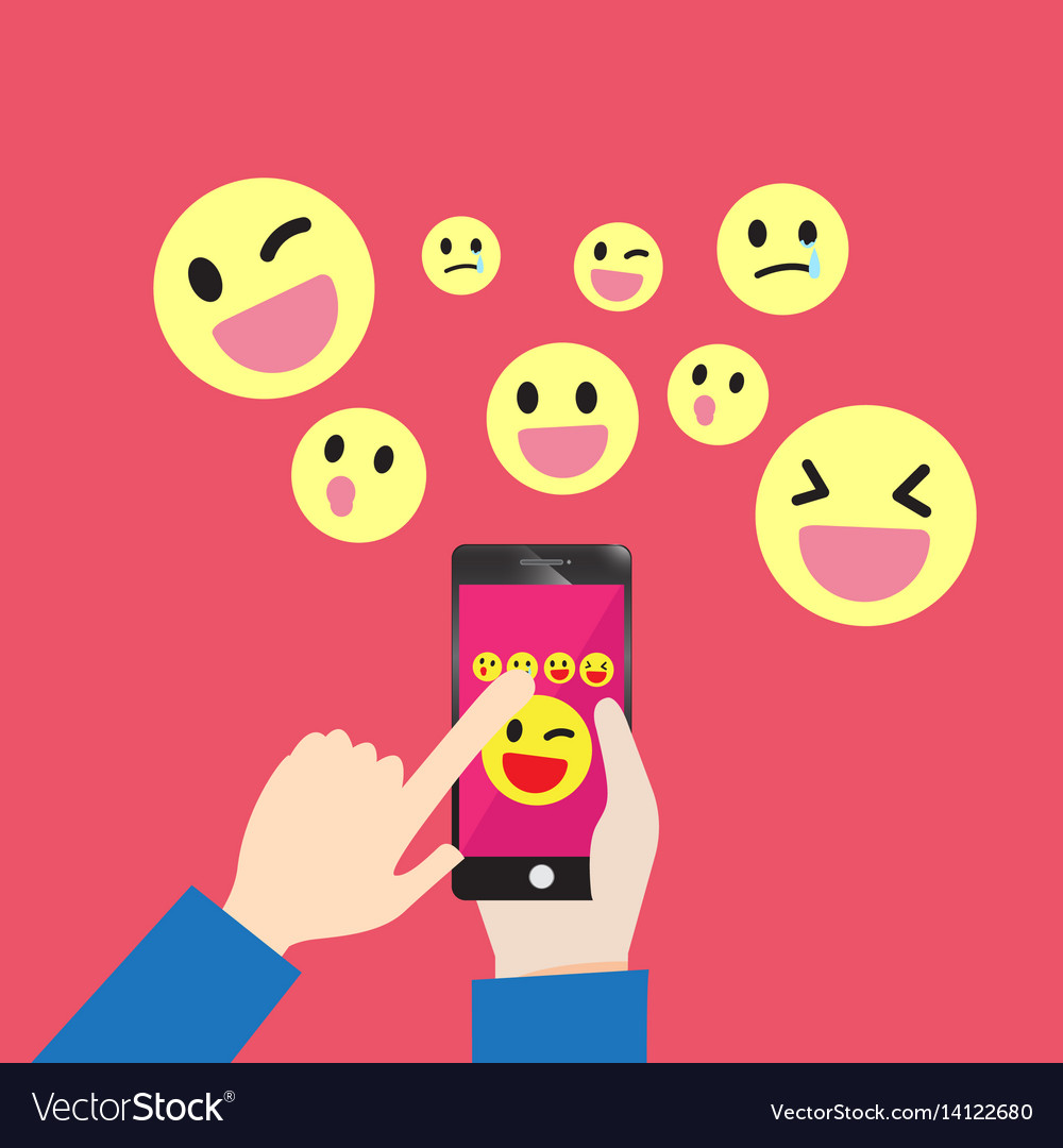 Smartphone communication emoticons message vector image