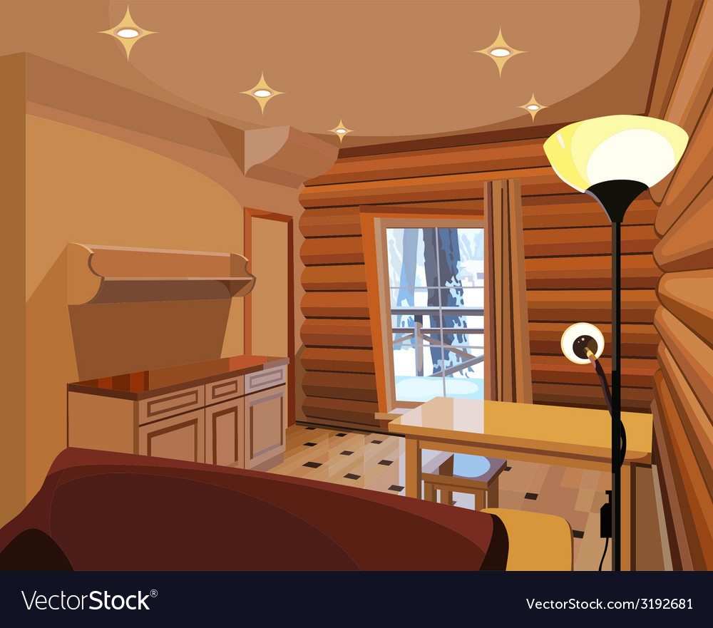 Luxury Kitchen Room Interior Bright Wooden Stock Vector: Cartoon Interior In A Wooden House Royalty Free Vector Image