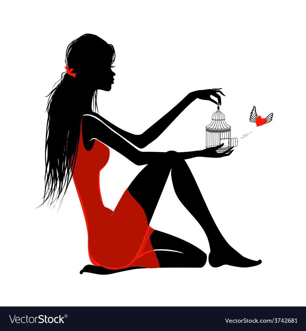 Girl in red vector image