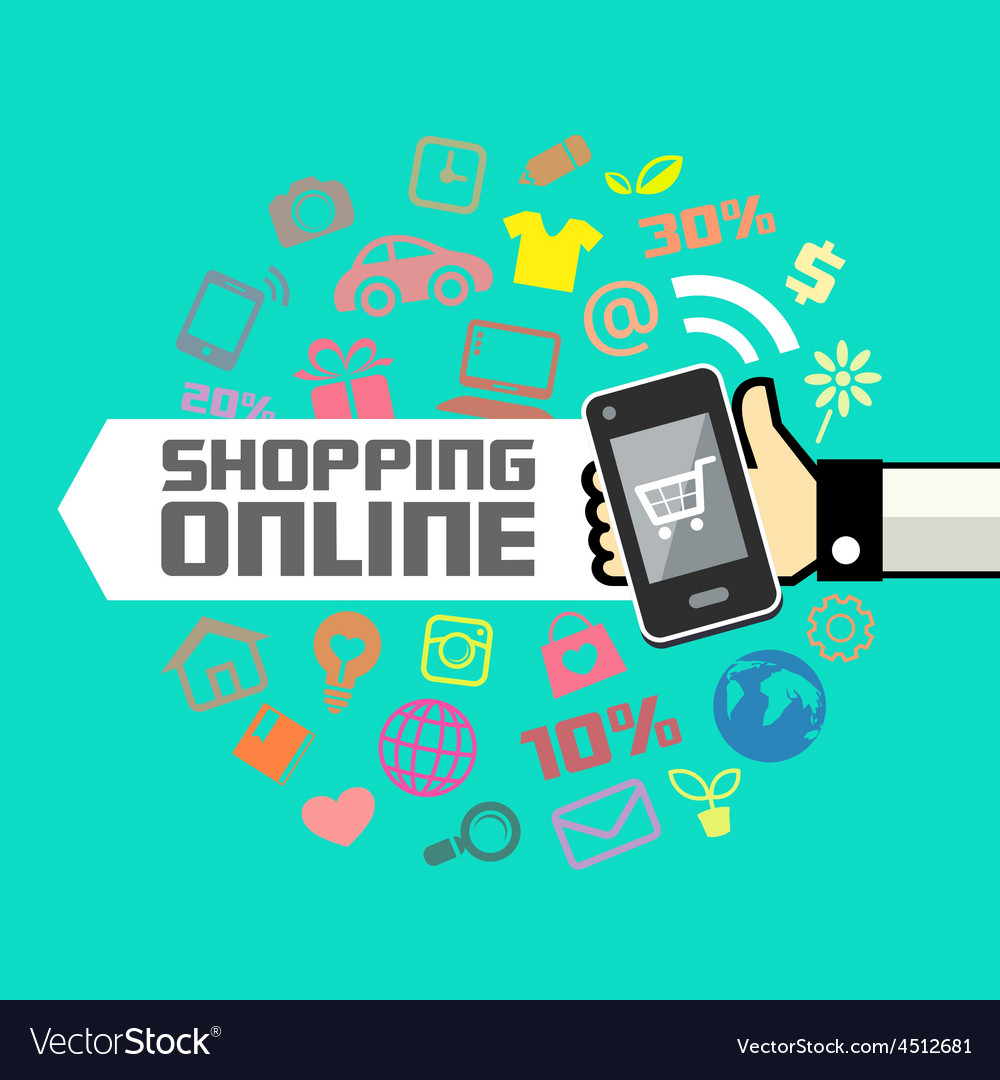 Mobile in human hand online shopping vector image