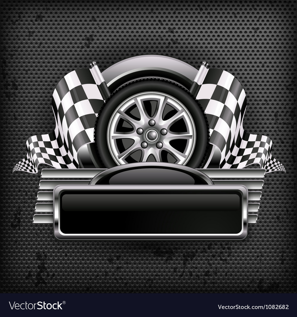 Emblem races checkered flag background vector image