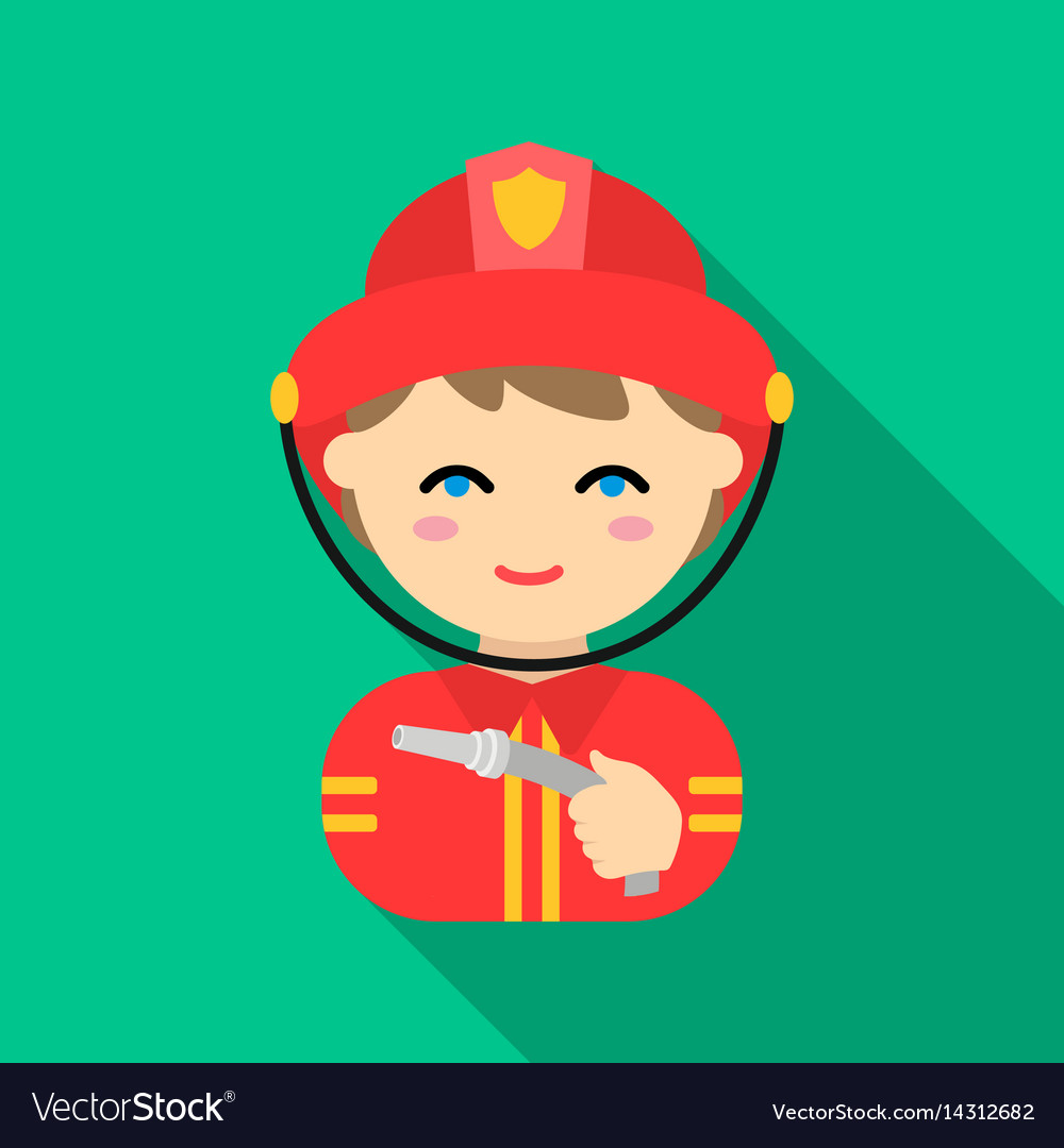 Fireman icon flat single silhouette fire vector image