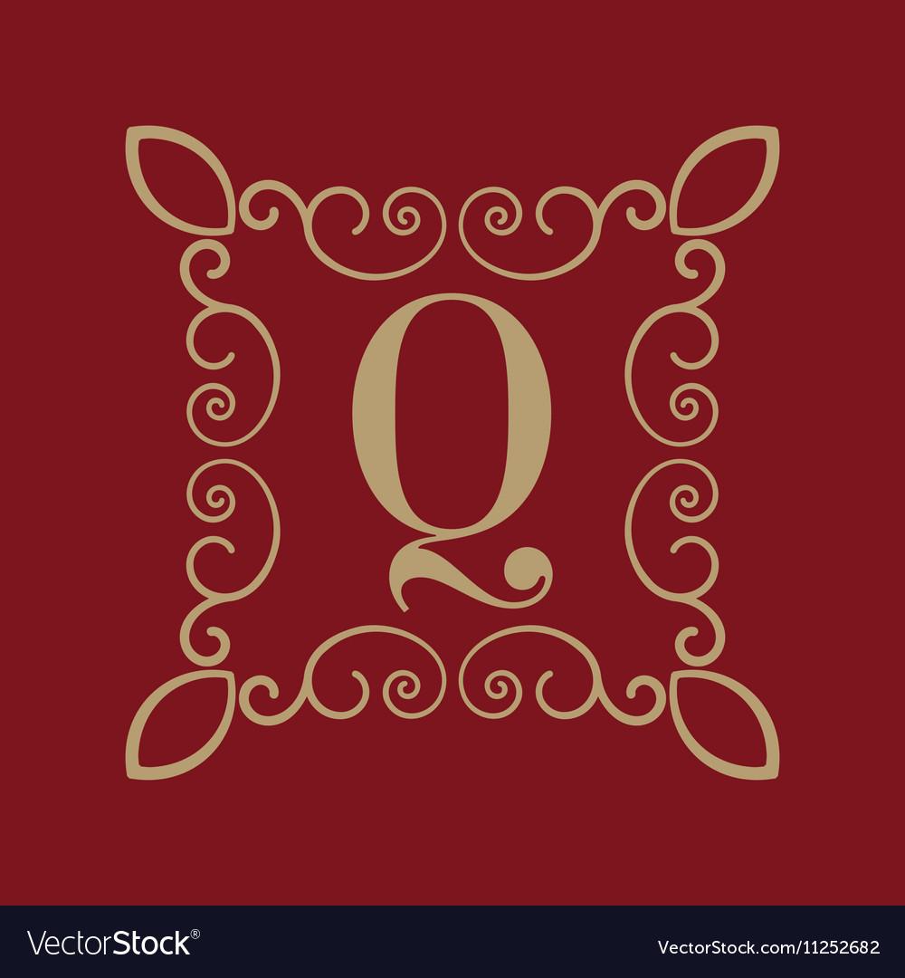Monogram letter Q Calligraphic ornament Gold vector image
