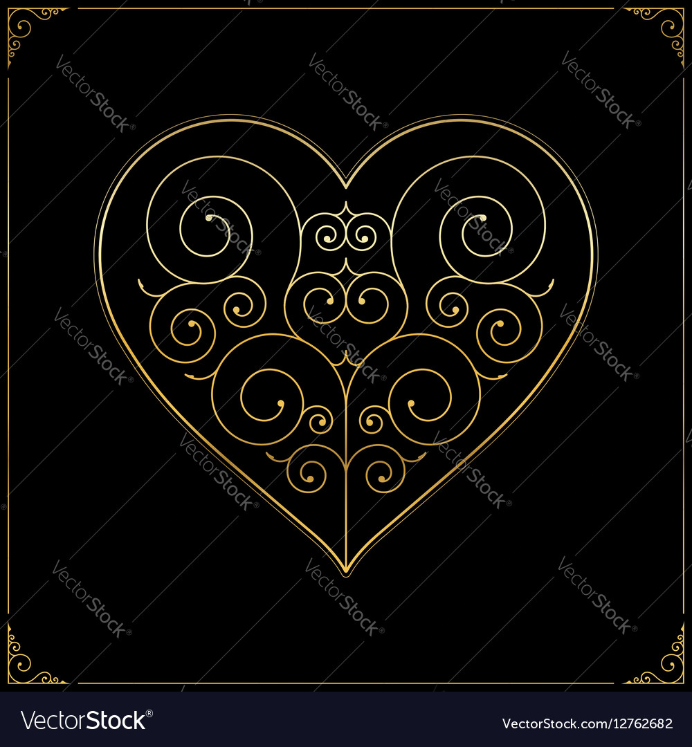 Valentines Day heart Ornate line art love symbol vector image