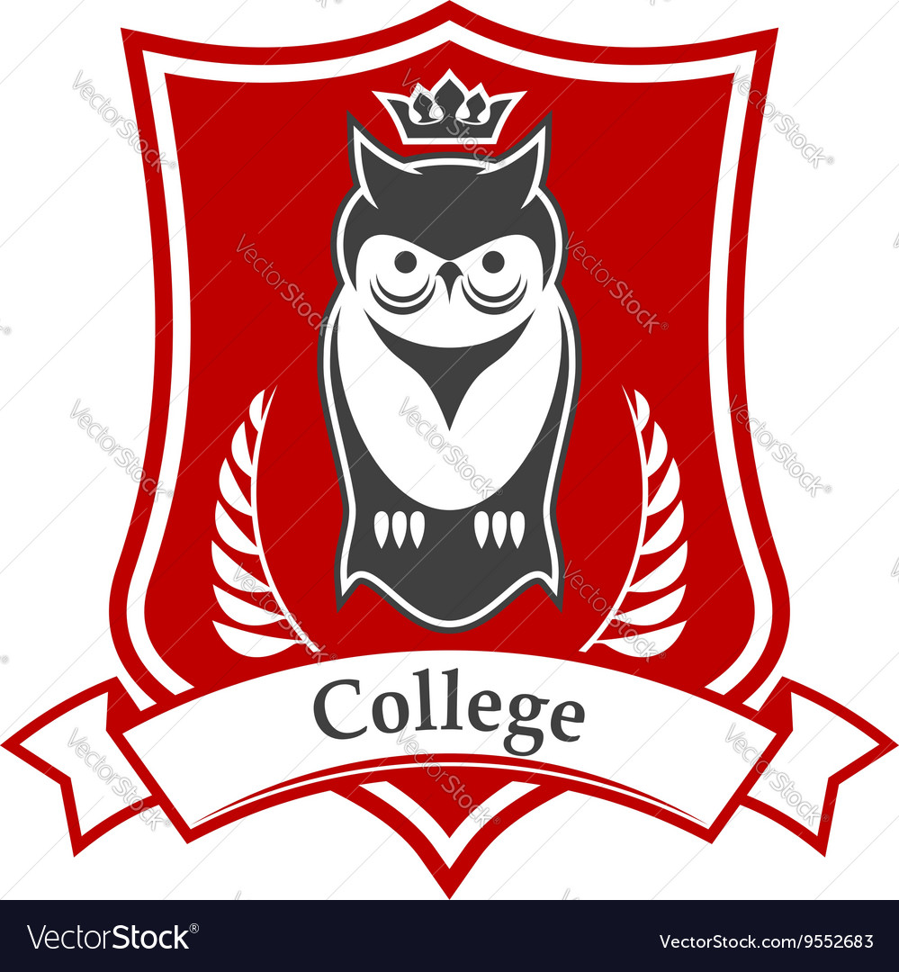 College heraldic sign with crowned owl on shield vector image