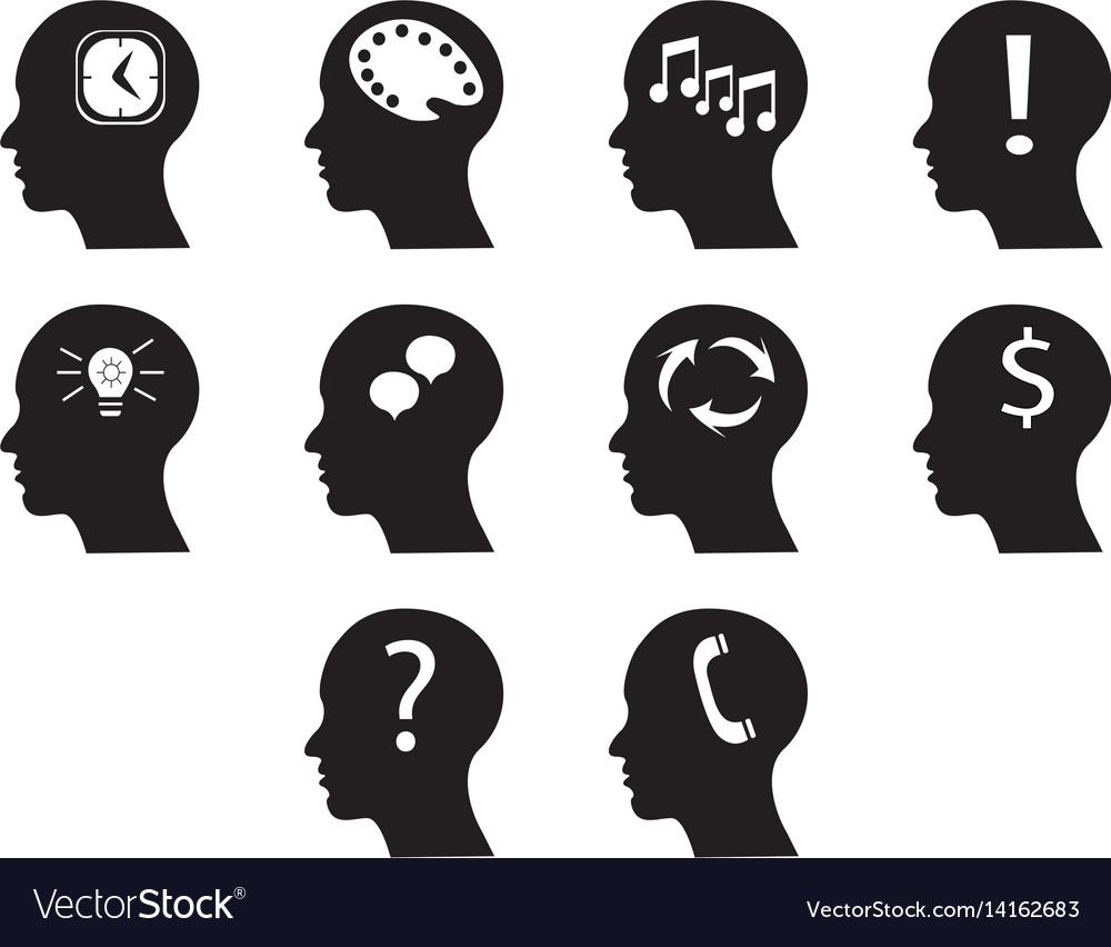 Flat black brain icon set vector image