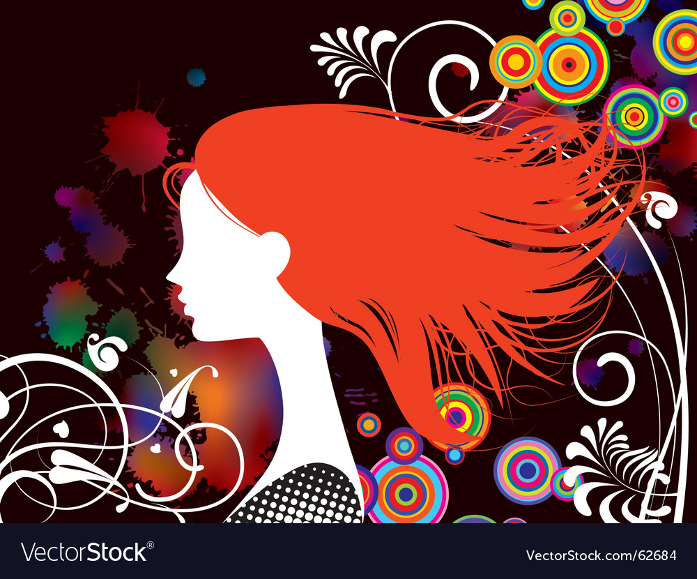 Girl with red hair vector image