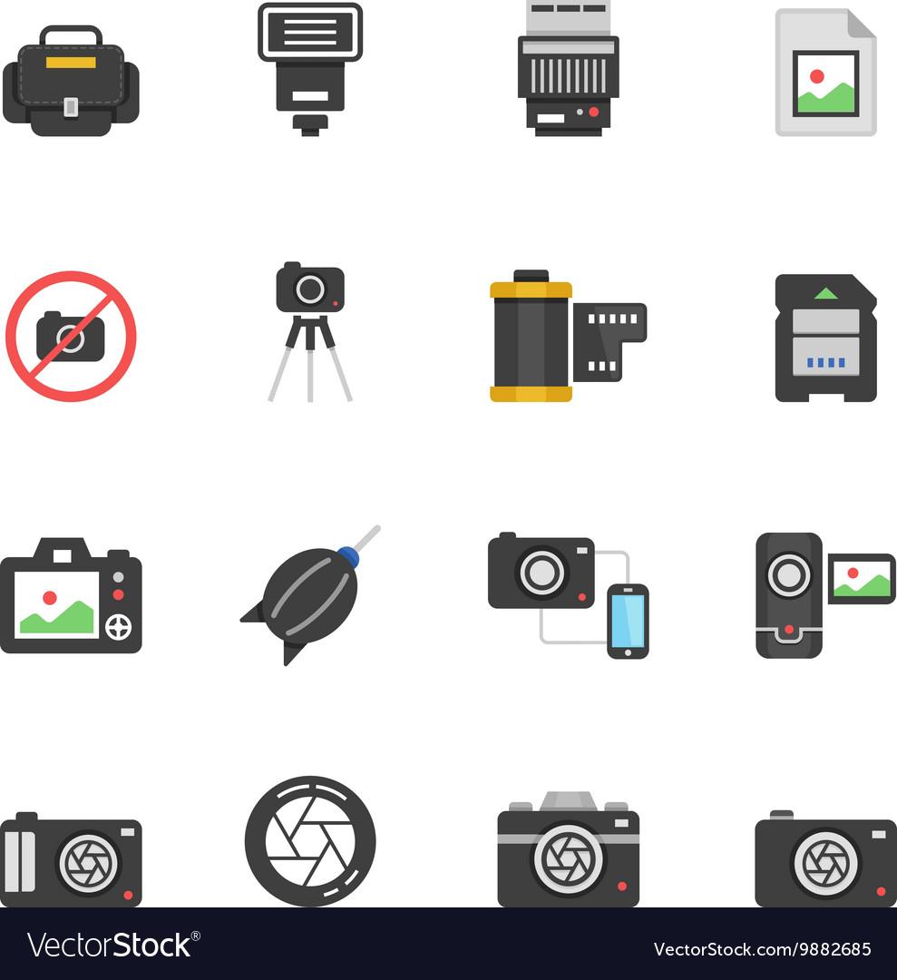Color icon set - camera and accessory vector image